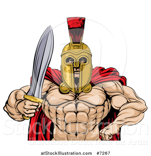 Vector Illustration of a Shirtless Muscular Gladiator Gladiator Man in a Helmet, Holding out a Sword, from the Waist up