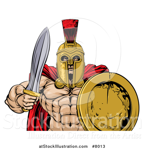 Vector Illustration of a Shirtless Muscular Gladiator Man in a Helmet, Holding a Sword and Shield, from the Waist up