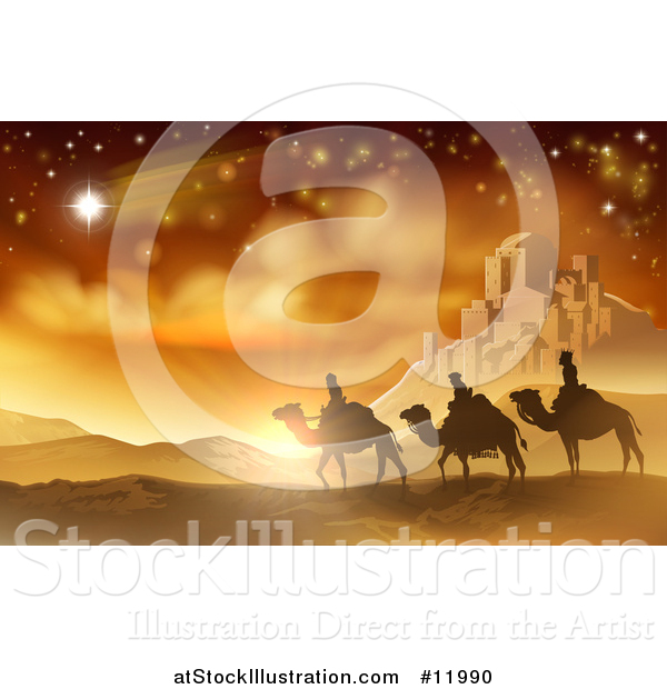 Vector Illustration of a Shooting Star of David over the Wise Men and Bethlehem
