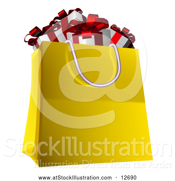Vector Illustration of a Shopping Bag Full of Christmas Gifts