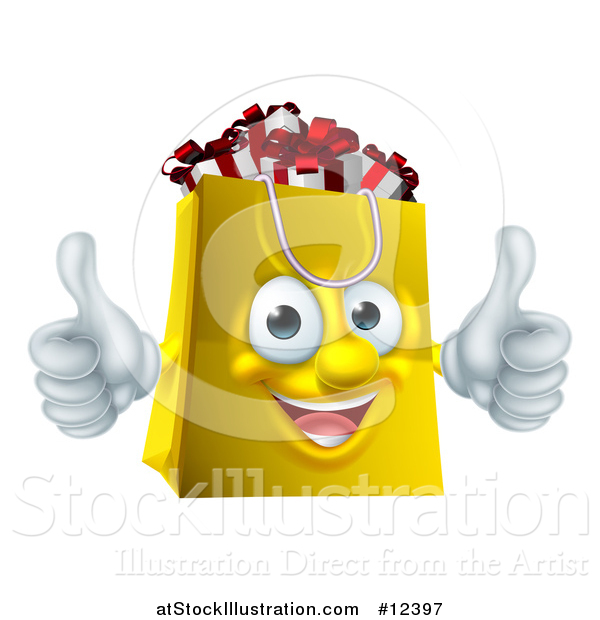 Vector Illustration of a Shopping Bag Mascot Full of Christmas Gifts