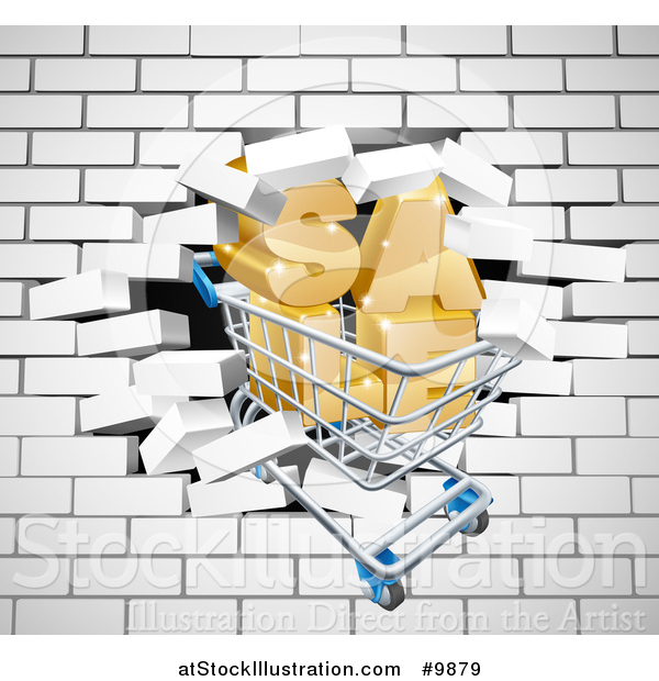 Vector Illustration of a Shopping Cart and SALE Crashing Through a 3d White Brick Wall