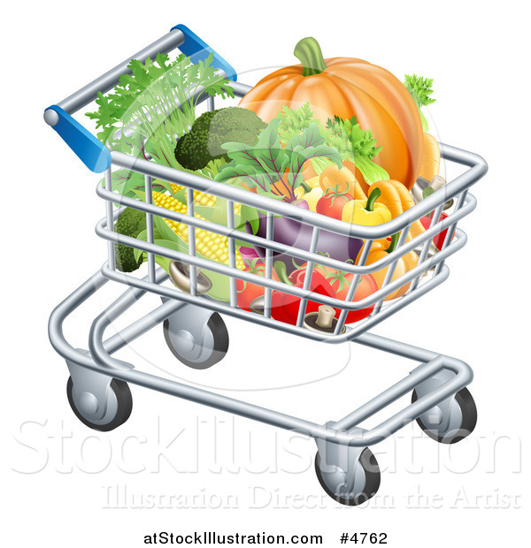 Vector Illustration of a Shopping Cart Full of Healthy Produce