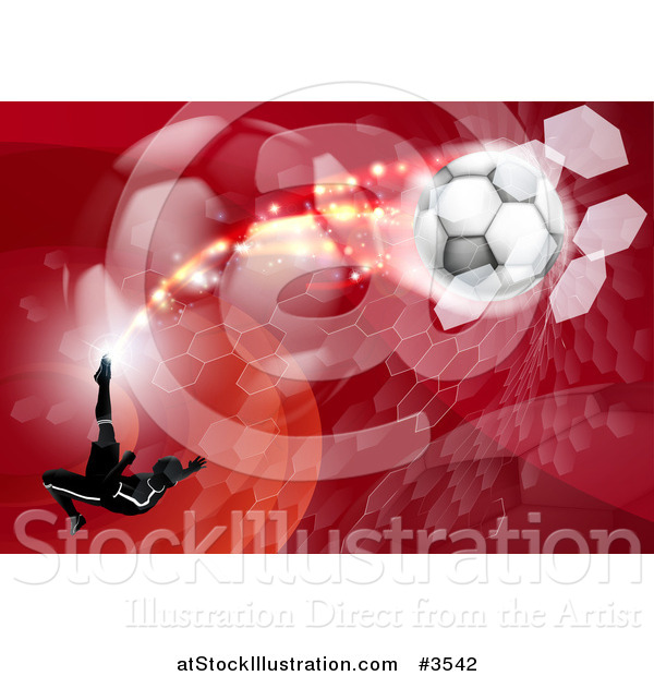 Vector Illustration of a Silhouetted Athlete Kicking a Soccer Ball over Red Waves Balls and Hexagons
