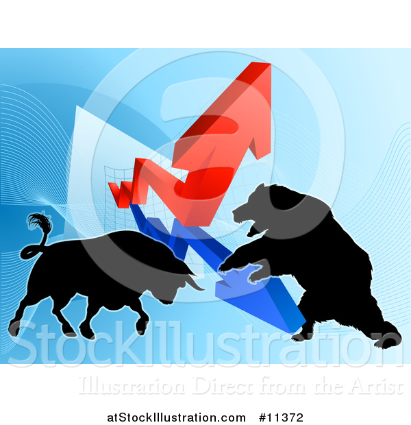 Vector Illustration of a Silhouetted Bear Vs Bull Stock Market Design with Arrows over a Graph