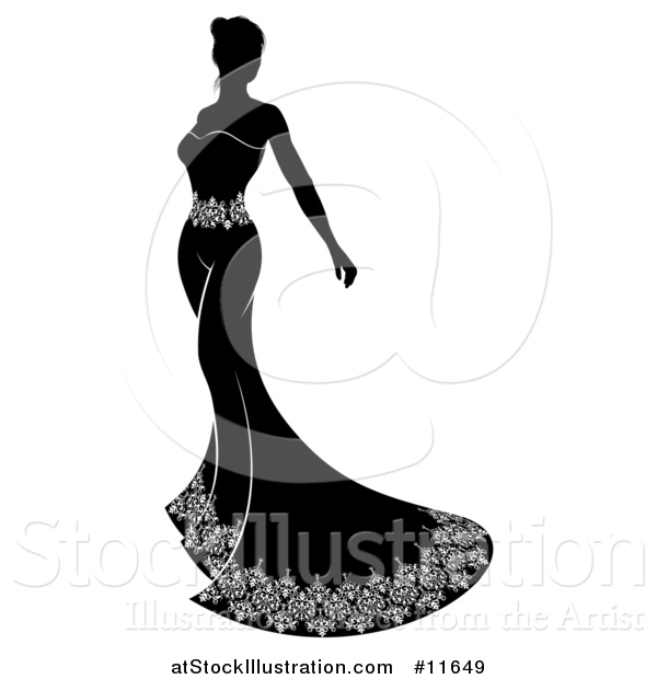 Vector Illustration of a Silhouetted Black and White Bride