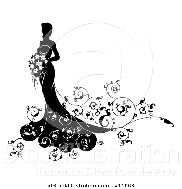Vector Illustration of a Silhouetted Black and White Bride Holding a Bouquet