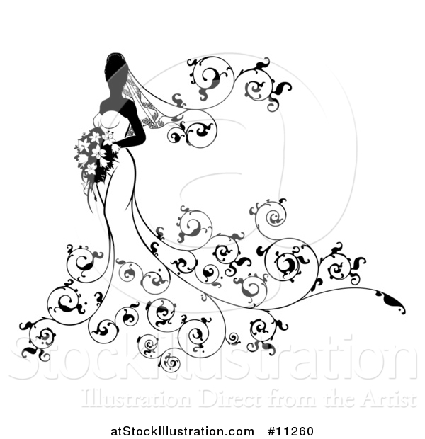 Vector Illustration of a Silhouetted Black and White Bride Holding a Bouquet, with Swirls