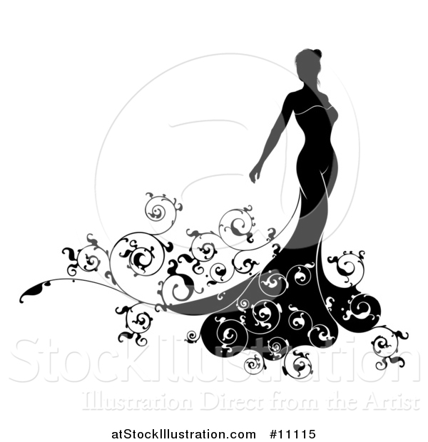 Vector Illustration of a Silhouetted Black and White Bride in Her Wedding Dress, with Swirls