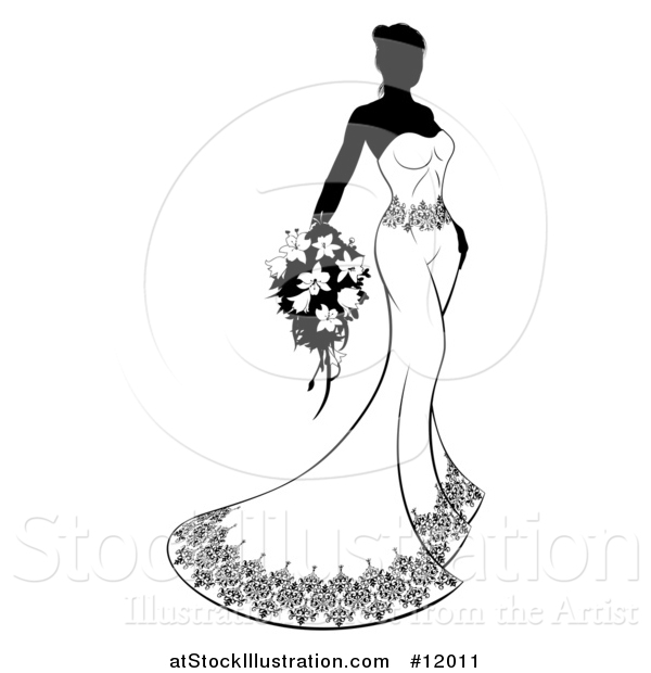 Vector Illustration of a Silhouetted Black and White Bride with Flowers