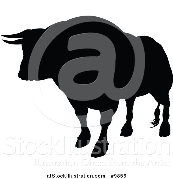 Vector Illustration of a Silhouetted Black Bull