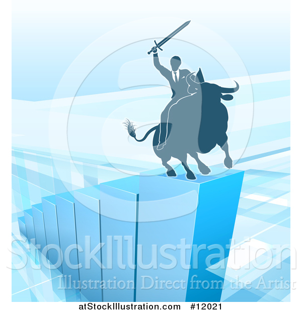 Vector Illustration of a Silhouetted Business Man Holding a Sword and Riding a Stock Market Bull on a Blue Bar Graph