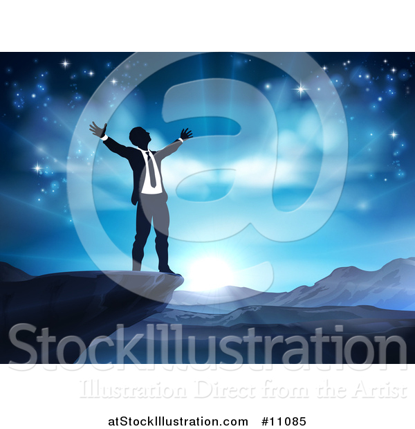 Vector Illustration of a Silhouetted Business Man in Worship, on a Cliff, Holding His Arms up to a Blue Sky over Mountains