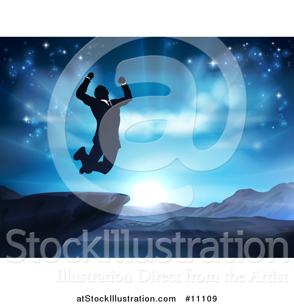 Vector Illustration of a Silhouetted Business Man Jumping and Cheering on a Cliff, Against a Blue Sky over Mountains
