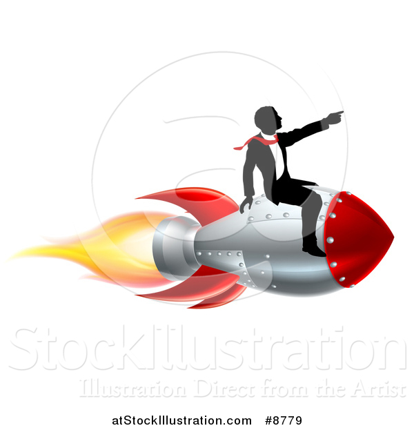Vector Illustration of a Silhouetted Business Man Sitting on a 3d Rocket and Pointing Forward
