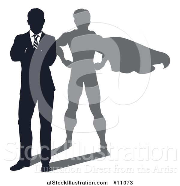 Vector Illustration of a Silhouetted Business Man Standing with Folded Arms and a Super Hero Shadow