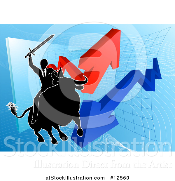 Vector Illustration of a Silhouetted Business Man Wielding a Sword and Riding a Stock Market Bull Against a Graph with Arrows