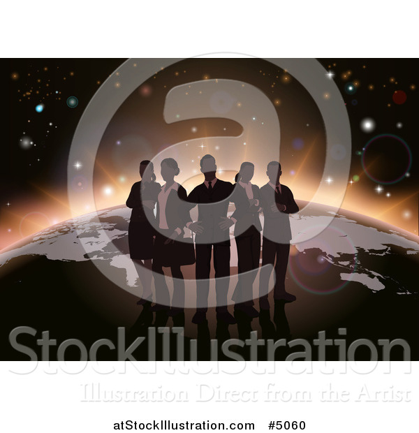Vector Illustration of a Silhouetted Business Team over a Globe with Dawn Emerging