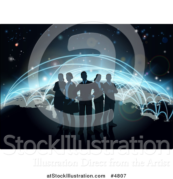 Vector Illustration of a Silhouetted Business Team over a Globe with Flight Paths