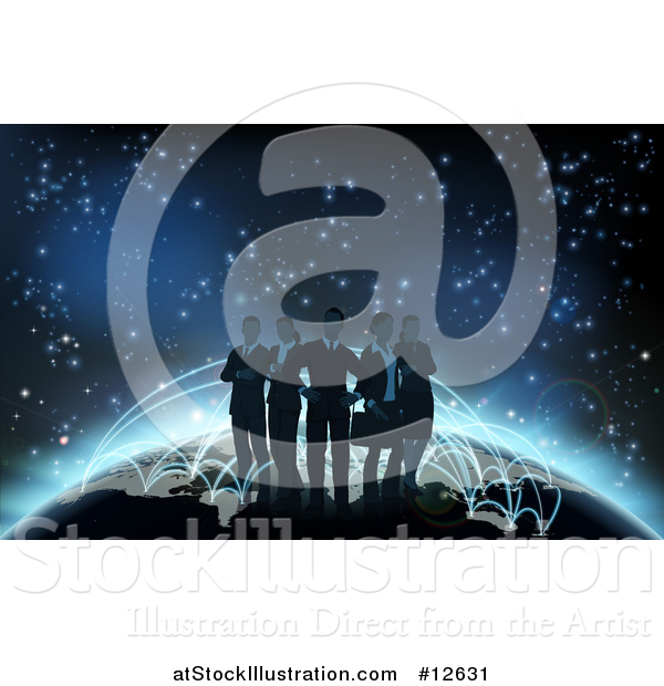 Vector Illustration of a Silhouetted Business Team Standing on a Globe with Glowing Paths
