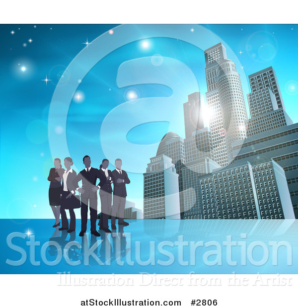 Vector Illustration of a Silhouetted Business Team Standing over a Blue Skyscraper Background