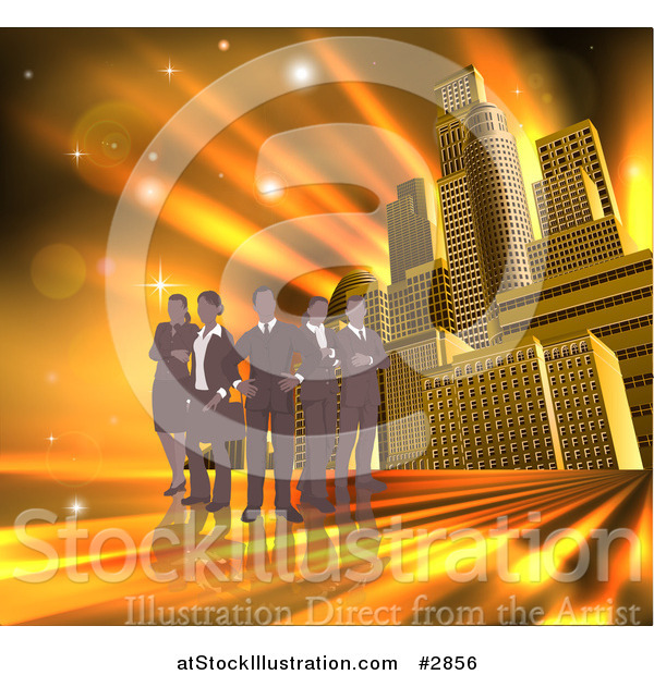Vector Illustration of a Silhouetted Business Team Standing over a Golden Skyscraper Background