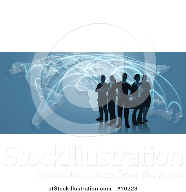 Vector Illustration of a Silhouetted Business Team Standing over a Map with Glowing Paths on Blue