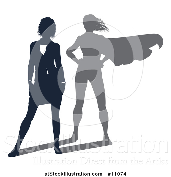 Vector Illustration of a Silhouetted Business Woman with a Super Hero Shadow
