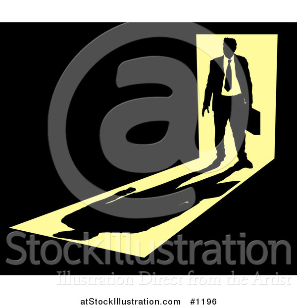 Vector Illustration of a Silhouetted Businessman Carrying a Briefcase, Standing in a Doorway with Bright Light from Behind, Casting a Shadow in Front of Him in a Dark Room, Symbolizing the Unknown Future