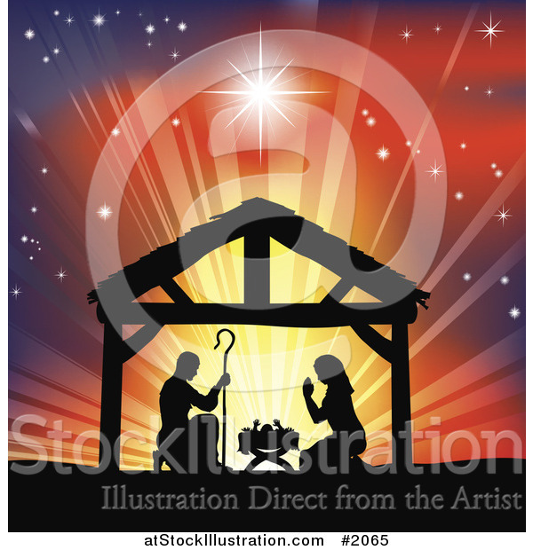 Vector Illustration of a Silhouetted Christian Christmas Nativity Scene Against a Colorful Shining Sky