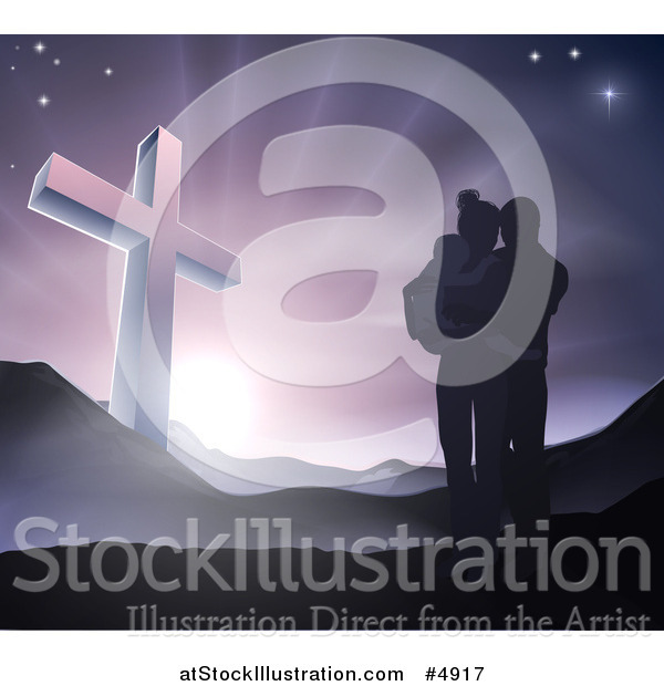 Vector Illustration of a Silhouetted Christian Family Huddling near a Cross at Dawn