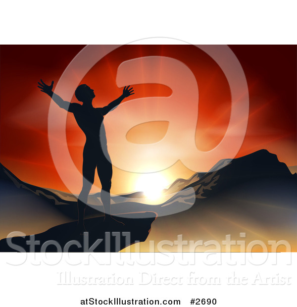 Vector Illustration of a Silhouetted Christian Man Praising Under an Orange Sunset over a Mountainous Landscape