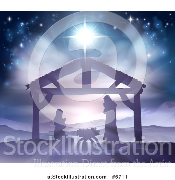 Vector Illustration of a Silhouetted Christmas Nativity Scene at the Manger with the Star of Bethlehem, Mary, Joseph and Baby Jesus