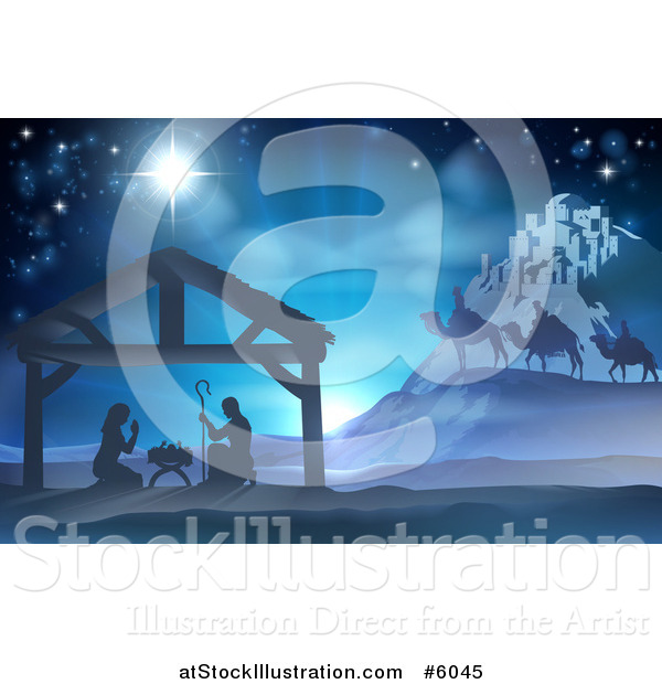 Vector Illustration of a Silhouetted Christmas Nativity Scene at the Manger with the Star of Bethlehem, Wise Men and Star