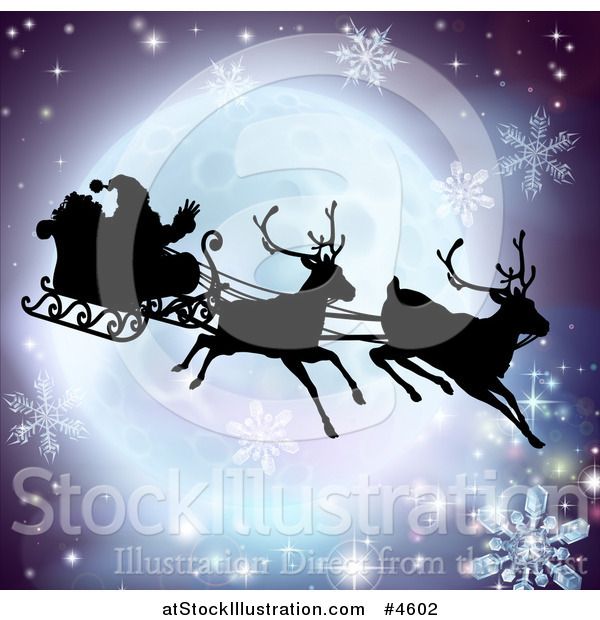 Vector Illustration of a Silhouetted Christmas Sleigh Reindeer and Santa over a Full Moon with Snowflakes