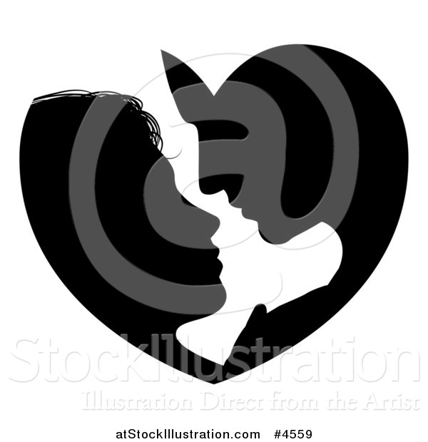 Vector Illustration of a Silhouetted Couple Forming a Heart As They Lean in for a Kiss