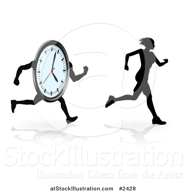 Vector Illustration of a Silhouetted Female Runner Trying to Beat Her Best Time