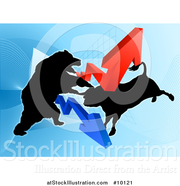 Vector Illustration of a Silhouetted Fighting Bear Vs Bull Stock Market Design with Arrows over a Graph