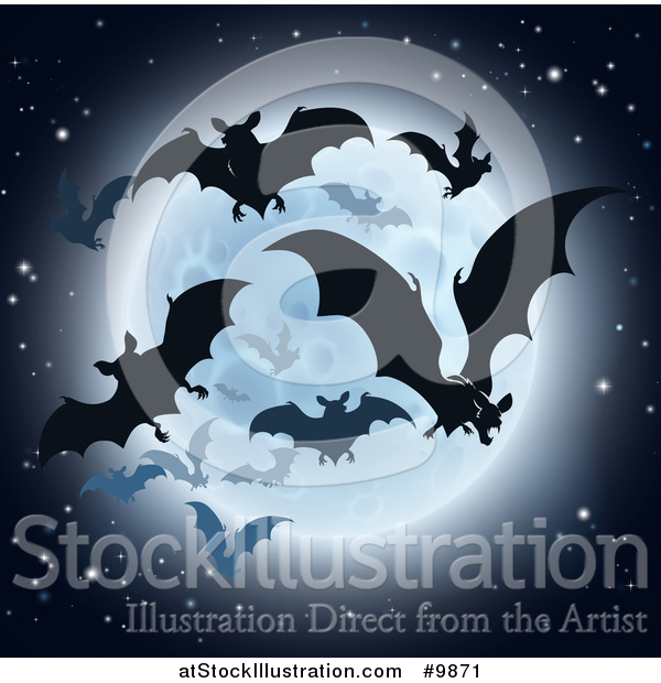 Vector Illustration of a Silhouetted Flying Vampire Bats and a Full Moon