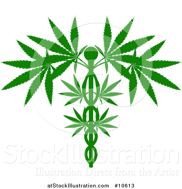 Vector Illustration of a Silhouetted Green Medical Marijuana Design with a Cannabis Plant Growing on a Caduceus