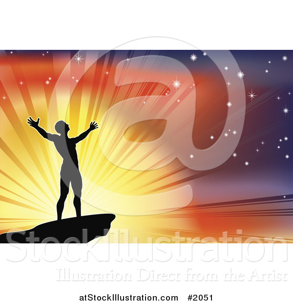 Vector Illustration of a Silhouetted Joyous Man Against a Glorious Sky