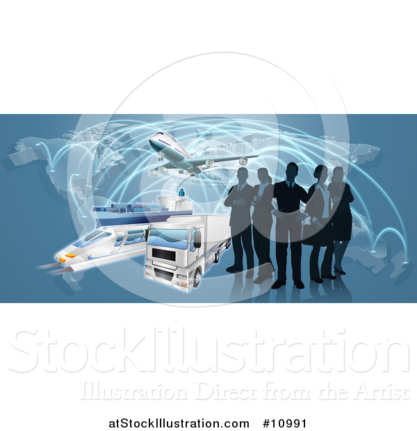 Vector Illustration of a Silhouetted Logistics Business Team Standing over a Map with a Plane, Truck, Train and Ship