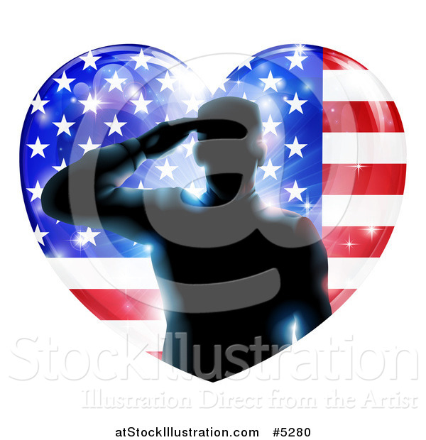 Vector Illustration of a Silhouetted Male Military Veteran Saluting over an American Flag Heart and Bursts