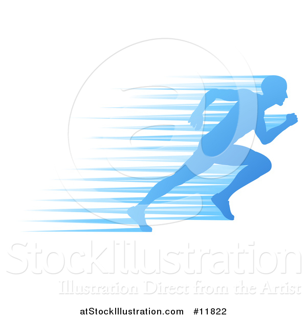 Vector Illustration of a Silhouetted Male Runner Sprinting with Blue Speed Lines