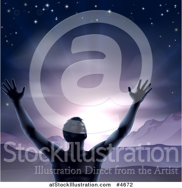 Vector Illustration of a Silhouetted Man in Worship, Holding His Arms up to a Purple Sky over Mountains