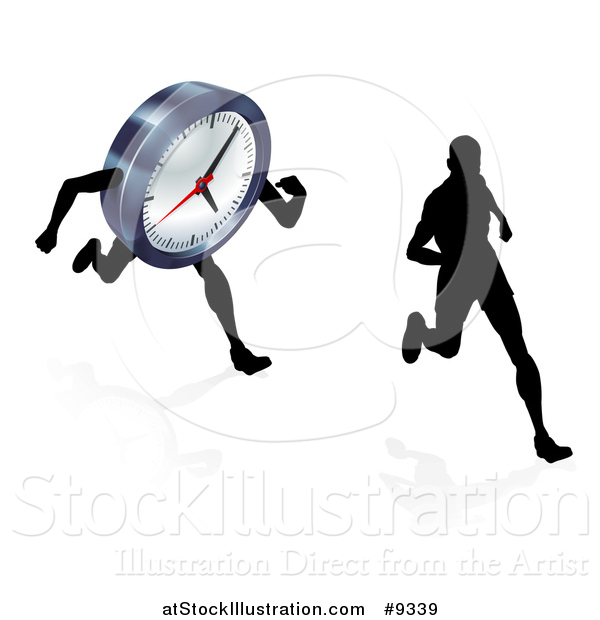 Vector Illustration of a Silhouetted Man Racing a Clock Character