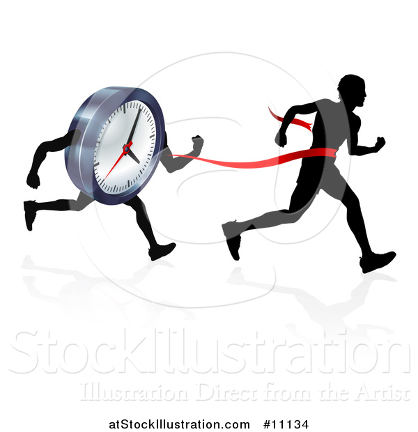 Vector Illustration of a Silhouetted Man Running Through a Finish Line Before a Clock Character