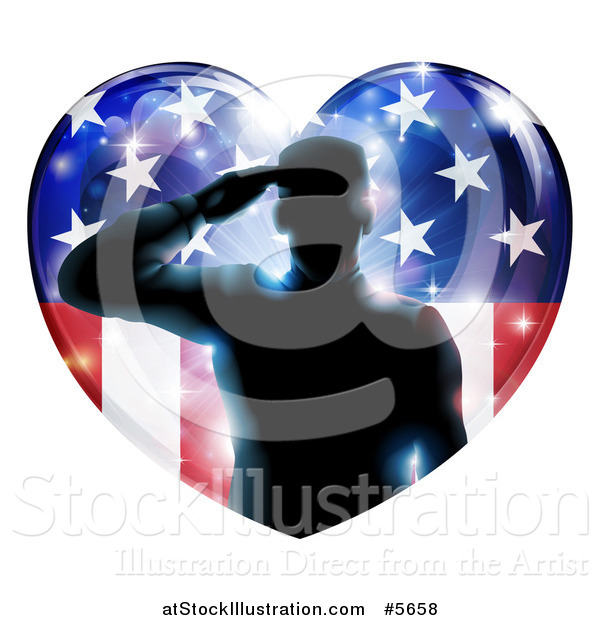 Vector Illustration of a Silhouetted Military Veteran Saluting over an American Flag Heart and Bursts
