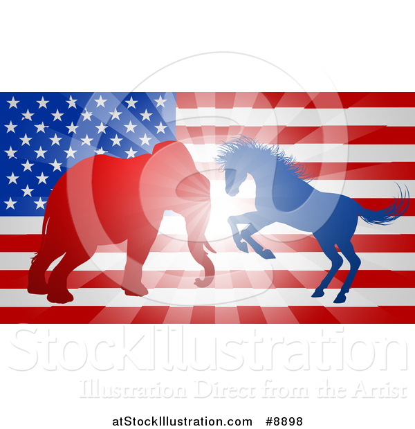 Vector Illustration of a Silhouetted Political Aggressive Democratic Donkey or Horse and Republican Elephant Battling over an American Flag and Burst