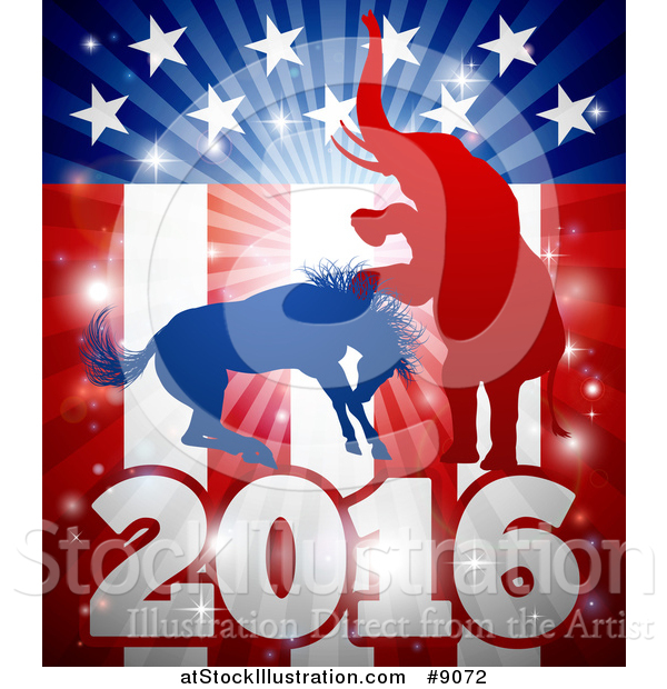 Vector Illustration of a Silhouetted Political Aggressive Democratic Donkey or Horse and Republican Elephant Fighting over a 2016 American Flag and Burst